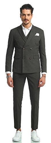 PIZOFF Herren Hippie Faschion Luxus Doppelreihiger Anzug Slim Fit 3 Teilig Superenger Blazer Sakko Anzughose Business Smoking AB002-06-L