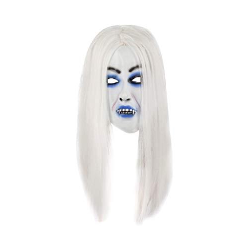 Spinne Braut Kostüm - WOBANG Halloween Maske Kopfbedeckung,Halloween Ball verkleiden Sich Dress up Halloween Cosplay Scary Braut mit weißem Haar Maske Kostüm für Erwachsene Party Dekoration Requisiten gruselig (A)