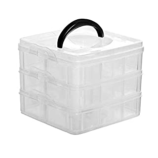 Kurtzy 3 Tier Clear Plastic Storage Box - 18 Adjustable Mini Compartments - Stackable Organiser for Jewellery, Sewing Embroidery Threads, Bobbins, Beads, Beauty Supplies, Arts & Crafts Accessories