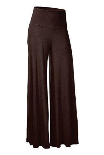 Smile YKK Pantalon Evasée Femme Large Jambe Pantalons Longues Grande Taille Sport Yoga Jogging Marron