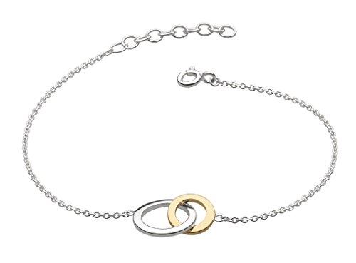 Dew Armreif aus Sterlingsilber mit vergoldeten ineinander verknüpften Ringen
