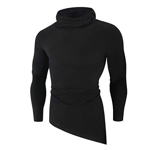 Fascino-M Uomo Autunno Inverno Manica Lunga Maglione Tinta Unita Slim Fit Classico Casuale Maglia Pullover Tops