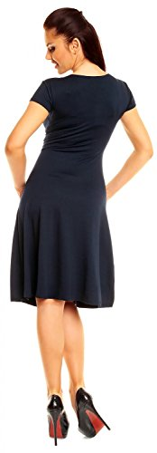 Zeta Ville - damen - Jersey Kleid - Kurzarm - Sommerkleid - Cocktailkleid - 108z Marine