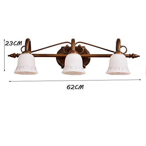 GCCI Kreative Foto- / E14-Glühlampe-europäisches Spiegel-Licht vor amerikanischer Retro- Nachttischlampe-Wand-Eitelkeits-einzelner geführter Licht-Lampen-Badezimmer-Badezimmer-Birnen-Spiegel,DREI Köp - Drei Licht-eitelkeit-wand-lampe