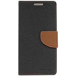 Gulwan Stylish Luxury Mercury Magnetic Lock Diary Wallet Style Flip Cover Case For Acer Liquid Jade (Black & Brown)