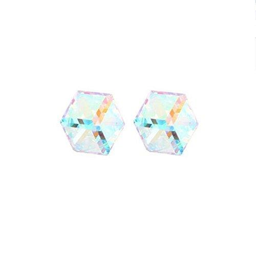 Erica Plaqué mousseux autrichien cristal cubique Stud boucles d'oreilles or parfait cadeau pour les femmes filles #5