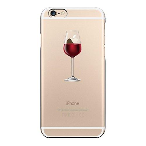 iPhone 6S Custodia, iPhone 6 Cover, morbido Trasparente antiurto silicone originale con Disegni TPU Bumper con apple case Protettiva trasparenti Posteriore per iPhone 6 / iPhone 6S (Vino rosso)