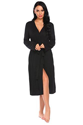 Damen Bademantel Morgenmantel Robe Saunamantel mit