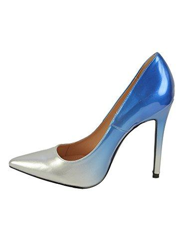 Escarpins Glamour Vernis Dégradé Bleu Argent Bleu
