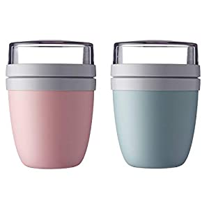 Mepal 'Ellipse' Lunchpot to go 500 ml & 200 ml, Farbe & Stückzahl:Nordic Pink & Nordic Green
