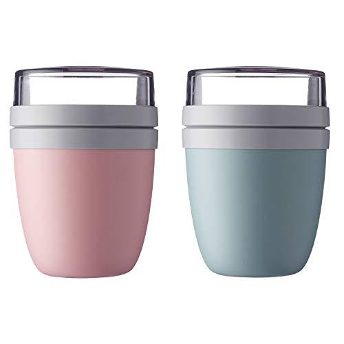 Mepal \'Ellipse\' Lunchpot to go 500 ml & 200 ml, Farbe & Stückzahl:Nordic Pink & Nordic Green