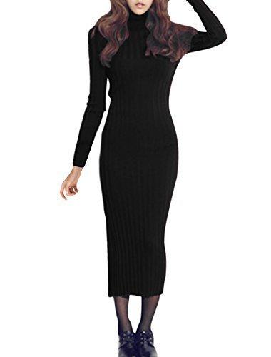 sourcingmap A Collo Alto Maniche Lunghe Casual A maglia Vestito Attillato per donne - sintetico, Nero, 100% acrilico, Donna, S (UK 8)