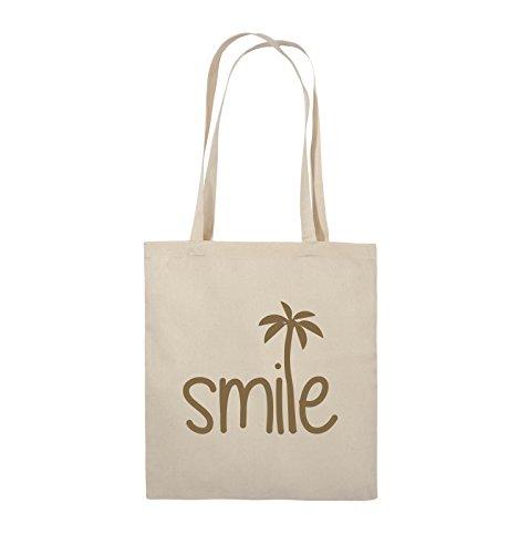 Comedy Bags - smile - PALME - Jutebeutel - lange Henkel - 38x42cm - Farbe: Schwarz / Silber Natural / Hellbraun