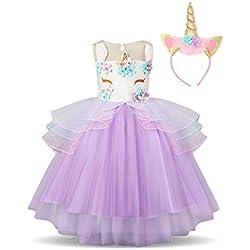 NNJXD Partido del Unicornio Flor de Las Muchachas del Traje de Cosplay de la Boda de Halloween de fantasía de Princesa Dress + del Mismo tamaño Gorras (100) 3-4 Años Púrpura