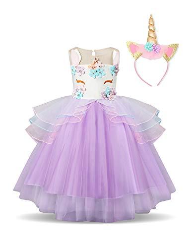 NNJXD Mädchen Einhorn Party Kostüm Blume Cosplay Hochzeit Halloween Fancy Prinzessin Kleid + Kopfbedeckung Größe (100) 3-4 Jahre Lila