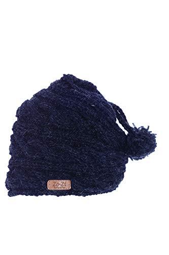 Zo-Zi Handarbeit Strickwolle Mütze mit Plüschfell/Made in Nepal - Wolle - Anthrazit