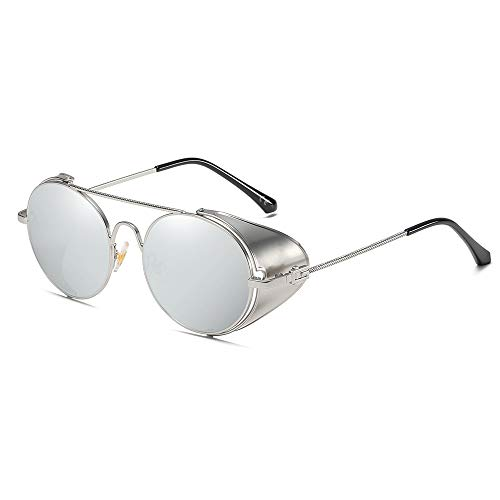 AMZTM Vintage Sonnenbrille Steampunk Stil Runder Metallrahmen für Frauen und Männer - Viktorianischen Double Bridge Brille mit Seitenschild(Silber Rahmen Silber Linse)