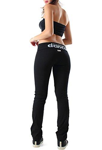 Pantaloni sportivi da donna elastici tuta per lo sport fitness palestra corsa dance tempo libero materiale cotone taglie S M L XL blu nero grigio CH93 (M, NERO)