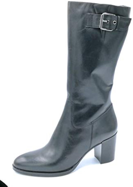 BPrivate C1604 Stivale in Pelle Nero con Cerniera e Fibbia Tacco 8 cm - Taglia Scarpa 41 | Buon Mercato  | Scolaro/Ragazze Scarpa