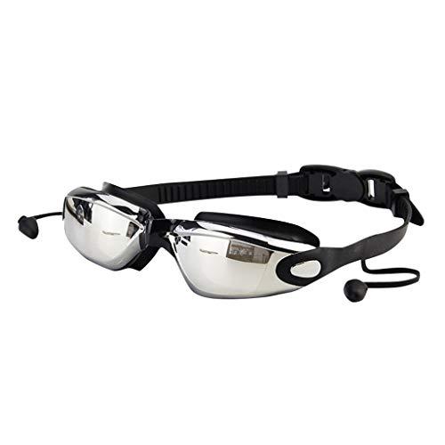 Feytuo Schwimmbrille, Fogging Anti UV Schwimmbrille Einstellbare Augenschutz Erwachsene Mode Schwarz