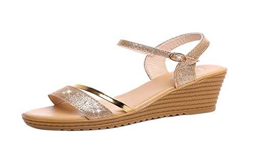 Thong-plattformen, High-heel Sandale (HBDLH-Damenschuhe/Sommer-High-Heels und Damen-Sandalen Harten Boden Wasserfester Plattformen Einfach Letted Die Sandalen.35 Goldene)