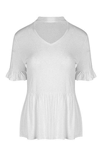 Be Jealous Damen Frauen Choker Hals V Plunge Kurzarm Peplum Rüschen T-Shirt Oben (Rüschen-hals T-shirt)
