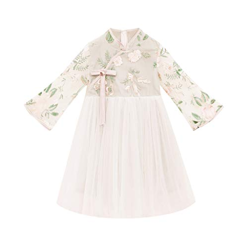 Julhold Teen Kinder Baby Mädchen Süße Mode Elegant Ärmellos Spitze Sticken Grenadine Vintage Kleid Outfits 3-13 Jahre -
