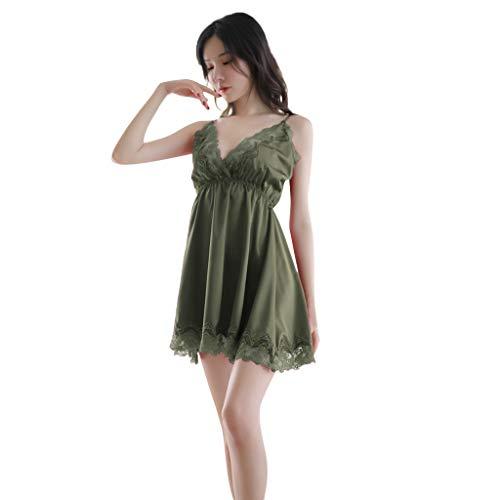 Damen Erotische Wäsche FGHYH Damen Sexy Lace Nachthemd Dessous Nachtwäsche Sexy Sling Pyjamas(L, Grün) (Pyjama-hose Snap)