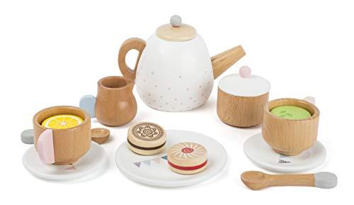 """small foot 11214 Teeservice """"Kinderküche"""" aus Holz, Zubehör für Kinderküche / Spielküche mit 17 Teilen, ab 3 Jahren"""