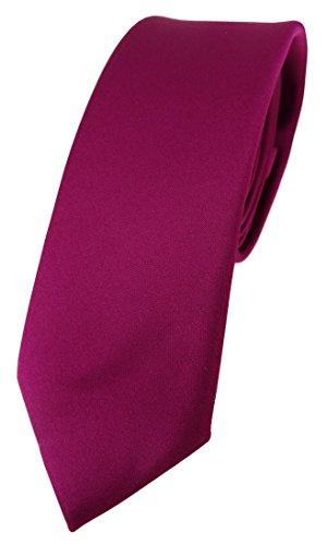 TigerTie schmale Designer Krawatte in magenta einfarbig Uni - Tie Schlips Tie Krawatte Krawatten