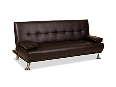 Venice Faux Leather Sofa Suite Sette Sofabed with Chrome Feet (Brown) by Humza Amani - cheap UK light store.