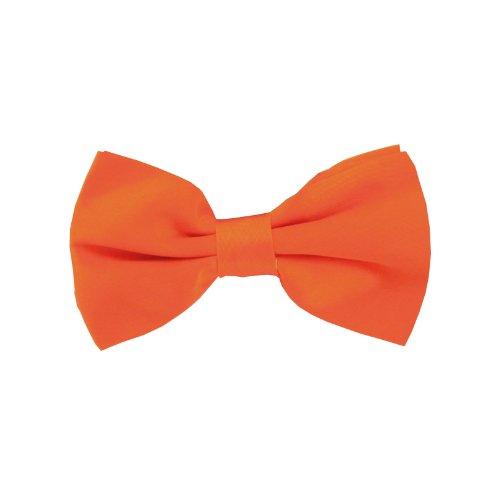 Fliegen 12,5 x 7 cm Anzugfliege mit verstellbarer Schleife und Druckverschluss (orange) (Orange Fliege)