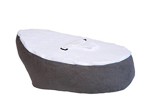 Little Mum Patapouf Babyliege -Sitzsack/Kokon für Babymit Sicherheitsgeschirr, 2abnehmbare Bezüge, umweltfreundlich hergestellt in Frankreich,