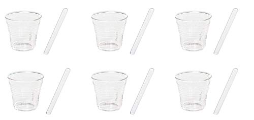 SELETTI – Tasses à café et Agitateurs, Verre, Transparent, Lot de 6
