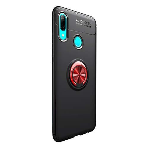 1Anberi Hülle für Huawei P Smart 2019 Slim Soft SilikonTPU 360 Rotation Ring Handyhülle mit Magnetic Autohalterungen Stoßfest Schutzhülle für P Smart 2019 Cover (Schwarz + rot, P Smart 2019 6.21