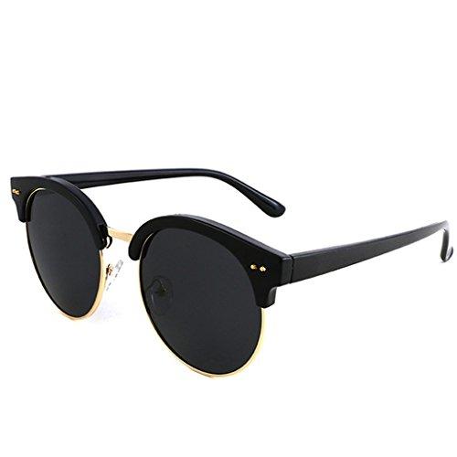YaNanHome Sonnenbrillen Brillen & Zubehör Neue Sonnenbrille Koreanischen Stil Brille Personalisierte polarisierte Sonnenbrille Damen Gezeiten Männer Runden Gesicht Gläser (Color : Black)