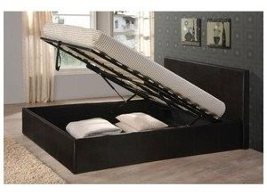 Black 5ft king size gas lift up faux leather ottoman storage bed frame By Bedsandbeds - low-cost UK bed store.