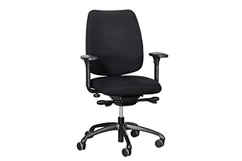 """Löffler Bürodrehstuhl Schreibtisch Bürostuhl Modell\""""FIGO 20\"""" 4D-Armlehnen In Schwarz Geprüft Und Gebraucht, 96-114x67,5x58cm (Zertifiziert und Generalüberholt)"""