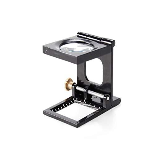XINGGUANG 10X Metall-Lupe mit Lineal, das optische Glaslinse-Lupe faltet, für Textil und Drucken