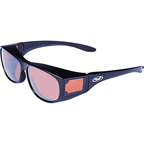 Global Vision Eyewear Escort Sicherheit Gläsern mit Rahmen und Schwarz glänzend Fahren Spiegel Objektive