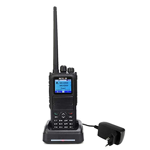 Retevis RT84 DMR Walkie Talkie Digital 5W Banda Dual 3000 Canales Pantalla  LCD a Color Compatible con Motorola Tier I&II (Negro)