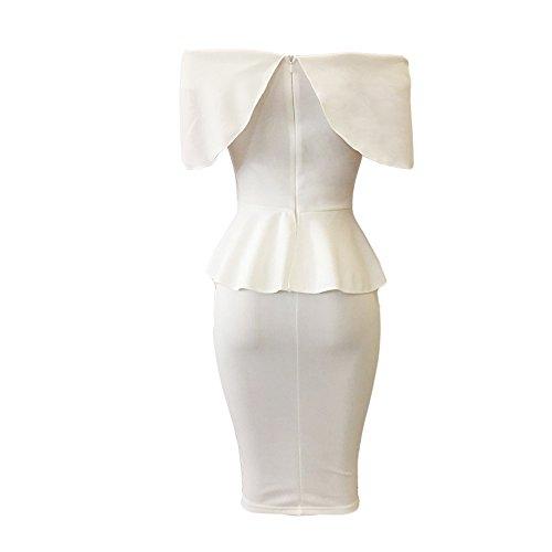 Femmes Robes Vintage,♔Homebaby♔ Sans Bretelle Robe pour Femmes Mariage Robe pour Femme Robe Dentelle Femmes Robe Serré Robe Chic Robe de Soire Robe de Volants Sexy Blanc