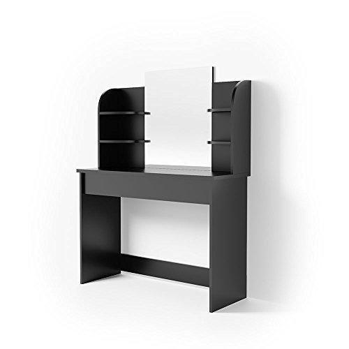 Vicco Schminktisch Charlotte 142 x 108 cm Weiß oder Schwarz - Frisiertisch Kommode Spiegel LED - Beleuchtung Bank +++ Schminkkommode mit Schubfach- und Regalsystem +++ (ohne LED, schwarz)