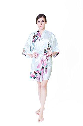 KEYNIS Damen Morgenmantel Satin Kimono Robe Bademantel Nachtwäsche mit Pfau und Blumen Kurze(M, Helltürkis) (Shopping-kimono Roben)