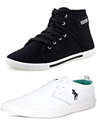 BERLOC Trending Black & White Casual Sneakers Combo Pack For Men