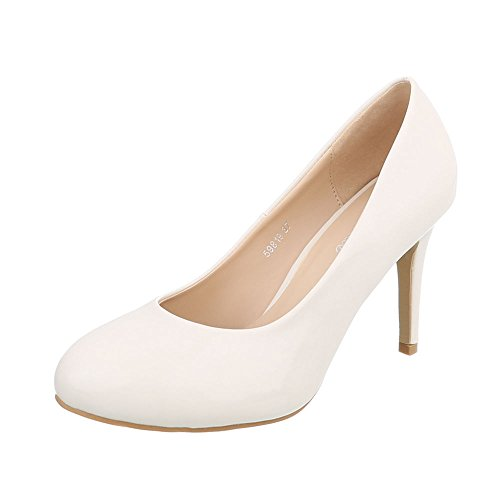 Ital-Design High Heel Pumps Damen-Schuhe High Heel Pumps Pfennig-/Stilettoabsatz High Heels Pumps Creme, Gr 37, 59819-