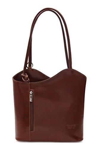 BHBS Femmes Véritable cuir italien Unique exploitation d'épaule ou sac à dos sac à main 31x28x8 cm (LxHxP), Beige - Dark Tan, M