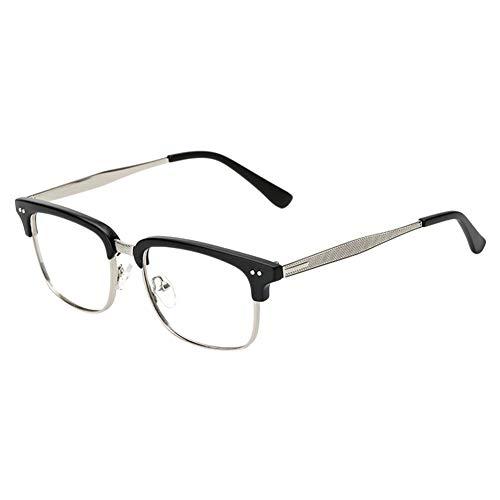 Xinvision Brillen für Männer Frauen,Metallgestell Brillengestell Klare Linse Bügel Halb Rahmen Brille Vintage Brillen Ebenenspiegel