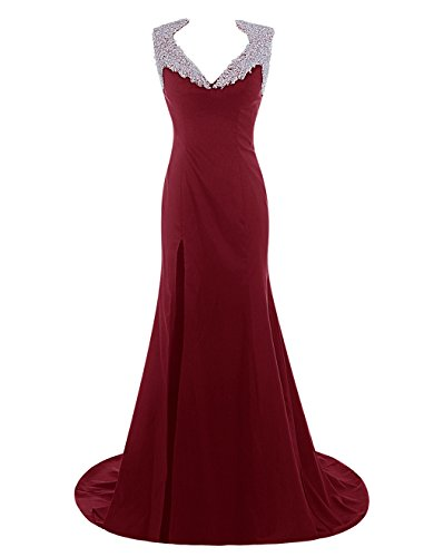 Dresstells, Robe de cérémonie Robe de soirée emperlée col en V traîne moyenne Bordeaux