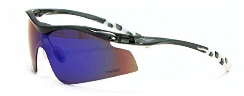 VertX Herren polarisierte Sonnenbrille Sport Radfahren im freien - Translucent Holzkohle and Weißen Rahmen - Grüne Linse